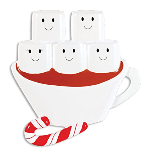 (Personalized Hot Chocolate Family of 5 Christmas Tree Ornament 2019 - Cute Marshmallow Cup Candy Cane Sibling Friend Tradition Winter Drink Cozy Lover 1 Kid Gift Year - Free Customization (Five))