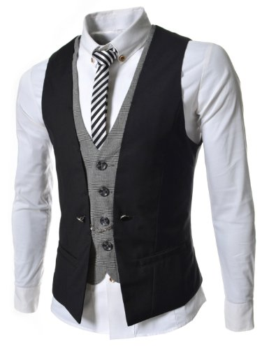 VE34 TheLees Mens premium layered style slim vest waist coat