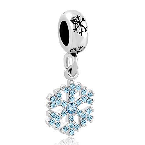 LovelyJewelry Snowflake Charms Synthetic Crystal Dangle Spacer Bead For Bracelets (Snowflake 3) -