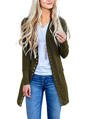 MEROKEETY Women Long Sleeve Snap Button Down Solid Color Knit Ribbed Neckline Cardigans