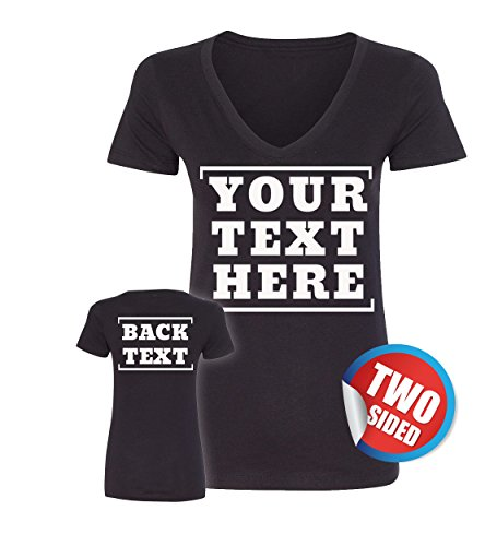 Customized Womans V Neck Shirt - Make Your Own Shirts for Women - 2 Side ()