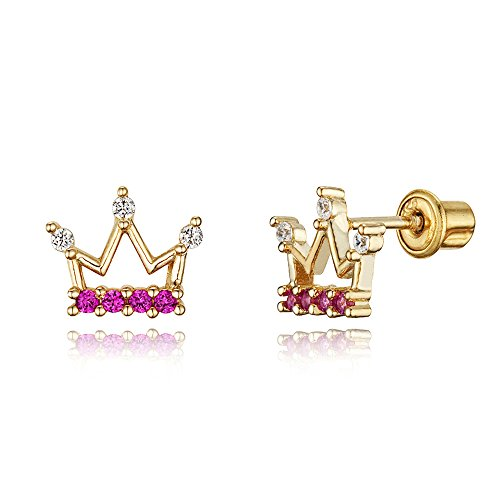 14k Gold Plated Brass Princess Crown Cubic Zirconia Screwback Baby Girls Earrings with Silver Post