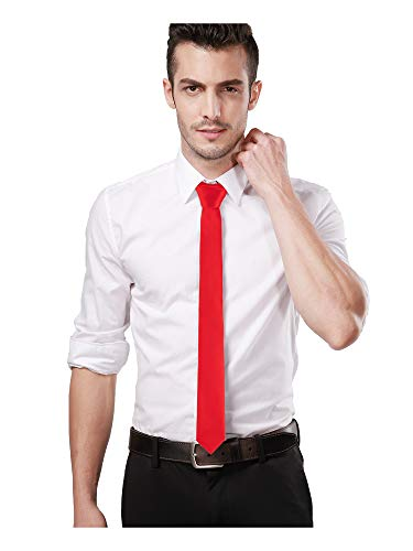 Landisun Skinny Scarlet Red Tie Silk Tie Satin Slim Necktie Exclusive 2 inch