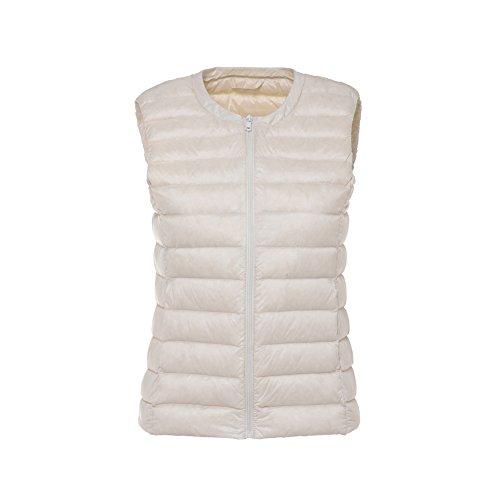 Gilet Coat Rotondo White Giacche Wind Waistcoat Piumino Scollo Giubbotto Donna Con Bmeigo qZwTtt