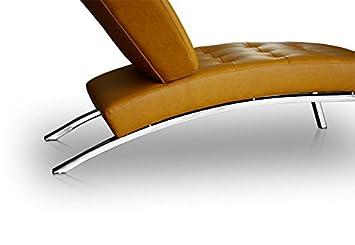NEUERRAUM Bauhaus Daybed Chaiselongue Lounge Sessel Relax Liege Couch Sofa  Echtleder, Fuß Edelstahl Poliert