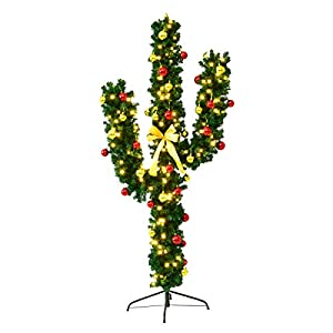 Goplus Pre-Lit Artificial Cactus Christmas Tree with LED Lights and Ball Ornaments 66