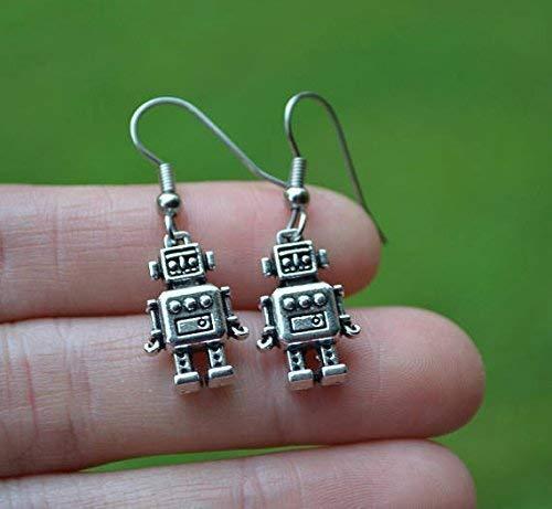 Silver Robot Earrings