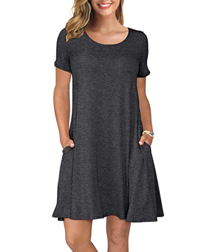 KORSIS Women's Summer Casual T Shirt Dresses Short Sleeve Swing Dress with Pockets Dark Gray 3XL - New Xxx Large T-shirt