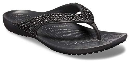 Crocs Women's Kadee II Embellished Flip Flop, Black, 7 M US