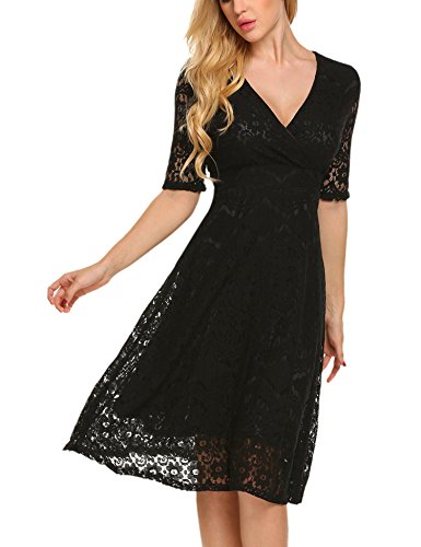 lace 3/4 sleeve midi dress - 9
