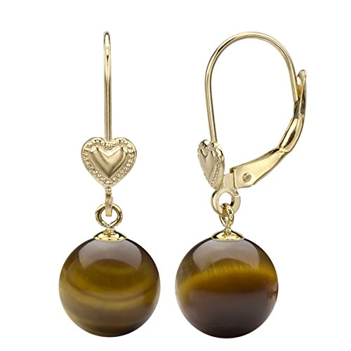 14k Yellow Gold 8-8.5mm Round Simulated Brown Tiger Eye Heart Design Lever-back Earrings