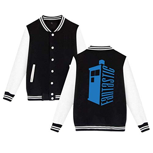 RS-pthrAB Doctor Who Fantastic Tardis Mens & Womens Particular Hoodie Baseball Uniform Jacket Sport Coat Black ()