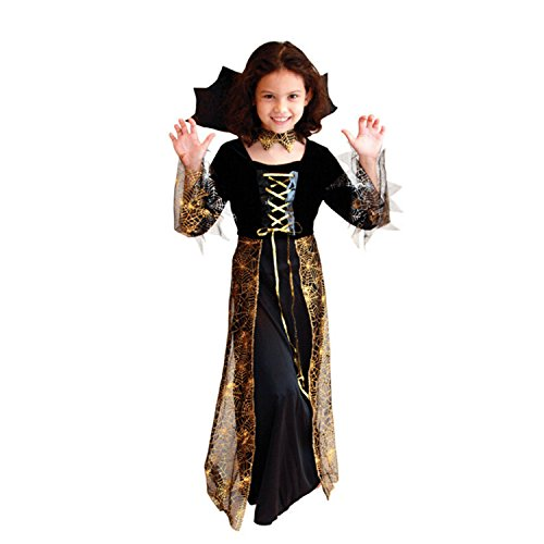 Boomtrader Halloween Witch Costume for Kids Princess Skirt Fancy Dress Girls Spider Mischief Costume (Princess Jasmine Costume Adults Plus Size)