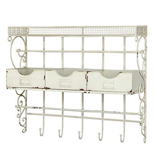 VIP Home And Garden Antique Wall Storage 31 X 25 Inch Rustic Wall Hooks  Vintage Mail