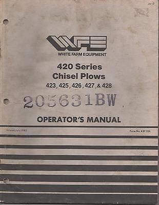 1982 WHITE 420 SERIES CHISEL PLOWS Form 437 231 OPERATORS MANUAL (738) ()