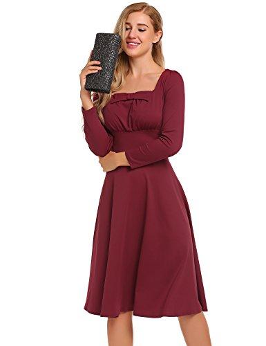 De Mujer Acevog Vestido Manga Larga Burdeos Rojo 56ZIqZwF
