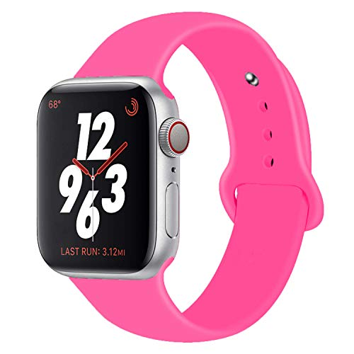 Chumei Sporty Band Compatible with Apple Watch, Soft Silicone Replacement Wristband Strap Band for iWatch Series 1 Series 2 Series 3 Series 4 (42MM/44MM S/M Baby Pink)