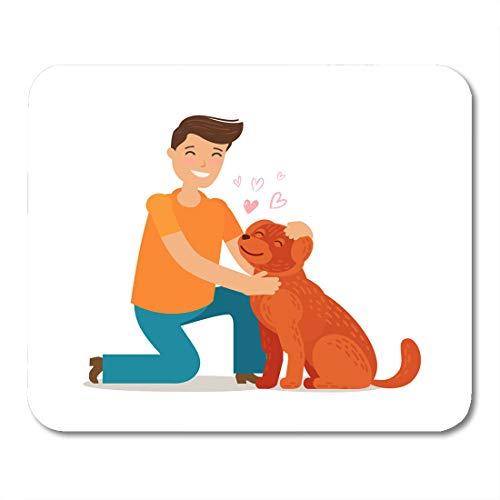 Nakamela Mouse Pads Animal Veterinary Happy Young Man with Dog Pet Pooch Doggie Concept Cartoon Affection Boy Mouse mats 9.5