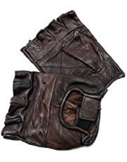 New Brown Genuine Leather Motorcycle Driving Cycling Weight Lifting Fingerless Gloves (Medium)
