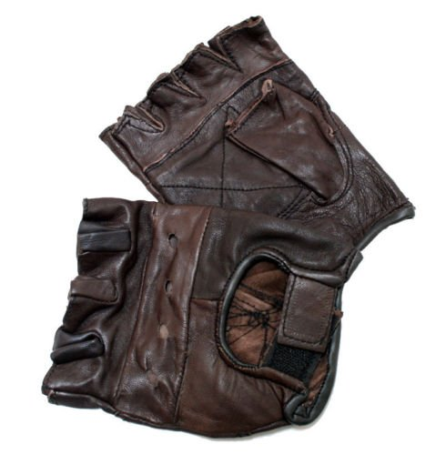 - New Brown Genuine Leather Motorcycle Driving Cycling Weight Lifting Fingerless Gloves (Medium)