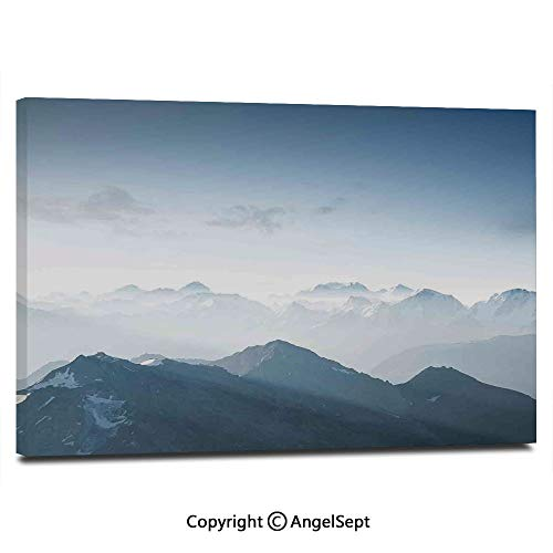 Ice Rock Climbing - Modern Salon Theme Mural Fog Morning in Rock Mountain Region in Northern Hiking Climbing Ice Photo Painting Canvas Wall Art for Home Decor 24x36inches, Soft Blue