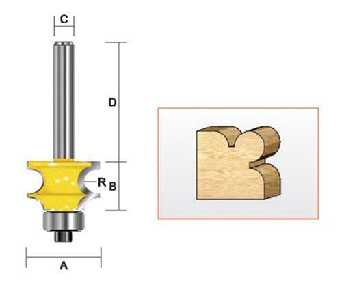 1-1//4-Inch Cutting Diameter by 1-7//16-Inch cutting Length 5//32-Inch Radius Kempston Corporation 1//2-Inch Shank Kempston 320421 Large Bead Bit