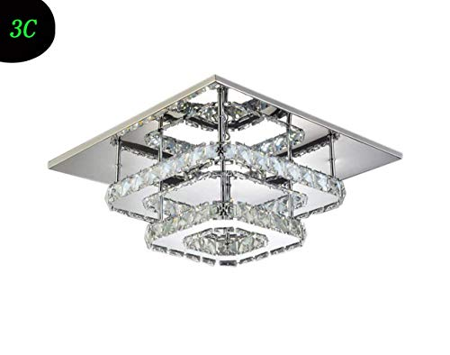 (BAIJING K9 Crystal Ceiling Lamp,24+8W Led White Light Double Layer Square Embedded Indoor Lighting Living Room Bedroom Study Entrance Villa Fixture 220/240W A++)