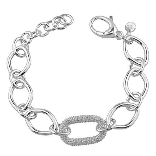 Kooljewelry Sterling Silver Textured Oval and Polish Diamond Links Bracelet (7.5 inch)