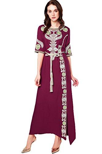 Dubai Islamic Donne Lungo Vestito Abaya 14 Abbigliamento Lf Jalabiya Ricamo 1712 marrone Musulmano 008dqrw