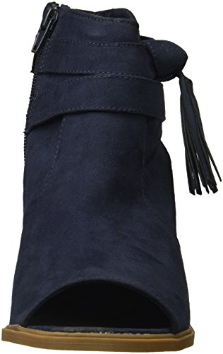 Side Micro Peep Navy with Bow Detail Ankle Promise Block Toe Rampage Women's Heel Bootie wSxz6qfq