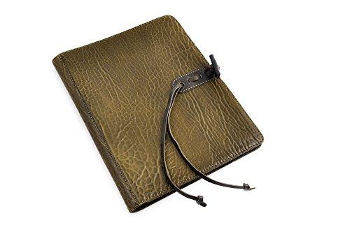 Handmade Italian Buffalo Leather Padfolio (Moss Green) - Vachetta Green