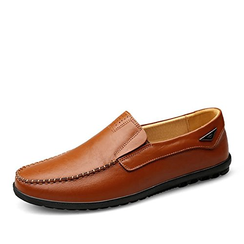 Slipper uomo EU pelle Dimensione leggeri Color Brown traspiranti Mocassini casual in da shoes slip on e 44 foderati Light Meimei Mocassini xz1PqwU
