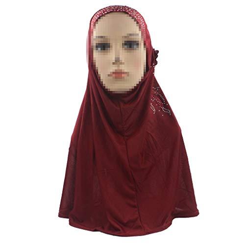 (Dainzuy Shawl Head Cap Muslim Women Long Headscarf Islamic Scarf Turban Headgear Floral Lace Headdress Fashion Shade Hat Red)