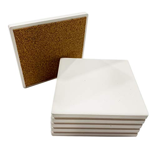SJT ENTERPRISES, INC. Absorbent Stone Coaster Blanks for Crafts, 4-inch, White with Cork Back, Decorate Your Own Coaster DIY Project (6-Pack) (SJT00094)...