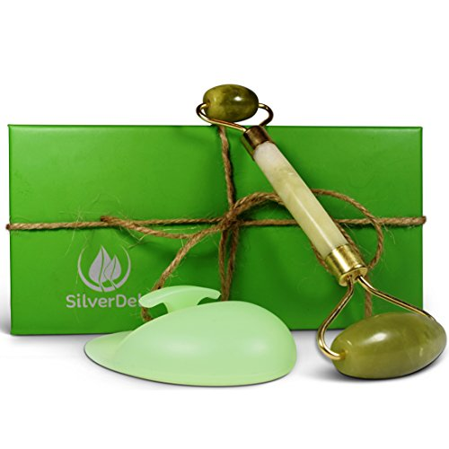 Best Anti-Aging Jade Roller Massager With Green Silicone Cleansing Brush for Face and Neck Rejuvenation and Body Relaxation, 100% Real Natural Jade, Double Roller Balls in Beautiful Handmade Box