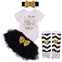 Baby Girl Clothes Letter Print Romper Sequin Tutu Dress Tulle Short Skirt with Headband Legging Outfit Set