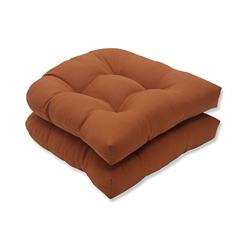 Pillow Perfect Indoor/Outdoor Cinnabar Wicker Seat Cushion, Burnt Orange, Set of 2 (Fall Outdoor Cushions)