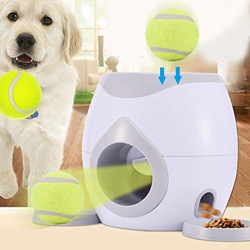 11.817.097.87in Automatic Dog Treat Food Launcher Thrower Interactive Tennis Ball Throwing Machine with 1 Reward Machine 1 Tennis 1 Feeding Spoon 2 Detachable Plate for Dogs ()