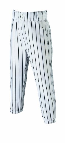Wilson Youth Team Poly Warp Knit Pinstripe Baseball Pant, White with Black Pinstripes, Large