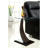Furniture of America Halen Contemporary Glass Top Side Table, Dark Walnut