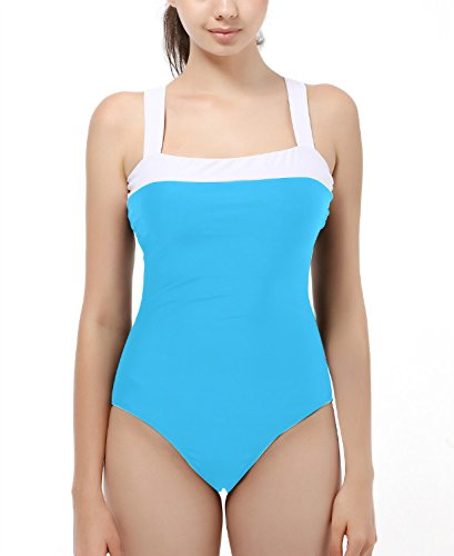 Vintage One Piece Bathing Suits Swimsuit Push Up Padded Swimwear For Women Blue L Thick Strap Tank