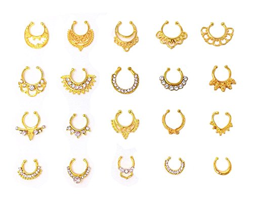 Honbay 20pcs Fake Septum Clicker Nose Ring Rhinestone Non Piercing Hanger Clip Body Jewelry (Gold)