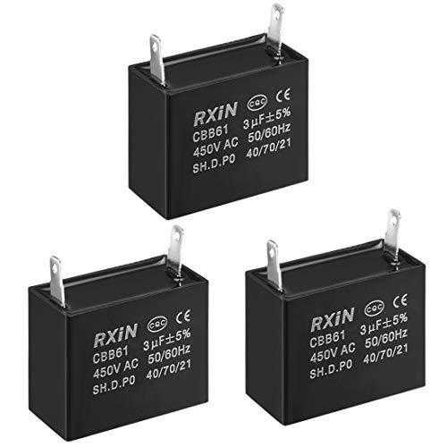 - uxcell CBB61 Run Capacitor 450V AC 3uF Single Insert Metallized Polypropylene Film Capacitors for Ceiling Fan, 3pcs