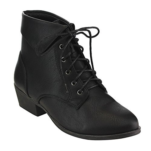 Top Moda EC89 Women's Foldover Lace up Low Chunky Heel Ankle Booties (6, Black)