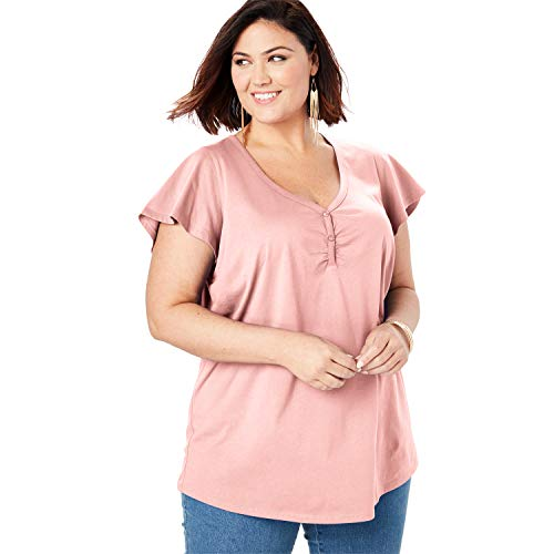 Roamans Women's Plus Size Sweetheart Ultimate Tee with Flutter Sleeves
