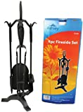 4 Piece Fireside Companion Set, Stand With Poker, Brush, Tongs, Shovel. Powder Coated Cast Iron