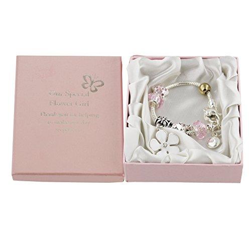 Oaktree Gifts Wedding Pink Charm Bracelet for the Flower Girl