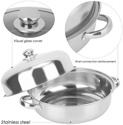 41f2t IdsEL. AC HelloCreate Steamer Pot, Stainless Steel Single Layer Stockpot Hotpot Food Steamer Pot Cookware Household Cooking    Specification:Condition: 100% Brand NewProduct material: stainless steelSteamer layer: single layer + steamed dicePot diameter * Pot height: Approx. 28 * 8.5cm / 11 * 3.3inCover diameter * Cover height: Approx. 27.5 * 8.5cm / 10.8 * 3.3inSteaming sheet diameter * Height: Approx. 27.8 * 0.2cm / 10.9 * 0.1in