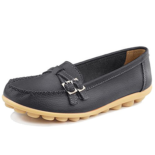 Fantiny Women's Genuine Leather Loafers Casual Moccasin Driving Shoes Indoor Flat Slip-On Slippers 3.black