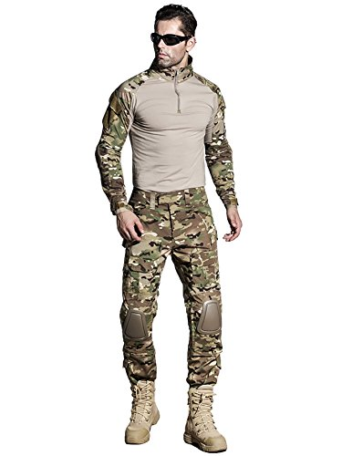 SINAIRSOFT US Army Uniform Shirt Pants with Knee Pads Tactical Combat Airsoft Hunting Apparel Camo BDU (MC,US M =Asian Tag XL)